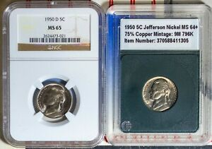 1950 & 1950-D 5C Jefferson Head Nickels MS 65 NGC 2624473-021