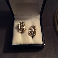 Magnificent Italian earrings from white and yellow gold with diamonds 0,68 TCW