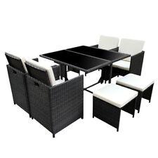 Poly Rattan Essgruppe Polyrattan Schwarz Lounge Garten Garnitur Gartenmöbel  Set