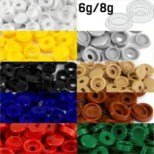 SMALL PLASTIC HINGED SCREW COVER CAPS WHITE YELLOW BLACK BLUE BROWN 6g/8g Gauge