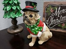 "Christmas Pug Dog Black Top Hat Resin Figurine Figure Tabletop Decor 8"""