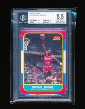 BGS 5.5 MICHAEL JORDAN 1986-87 FLEER RC ROOKIE CARD (50/50 9.5 SUB ON CENTERING)