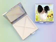 Papillon Dog 4 Compartment Square Metal Pill Box PBP-1 by paws2print