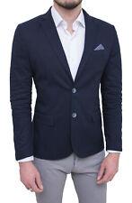 Giacca uomo elegante blu scuro slim fit blazer cerimonia con pochette taschino