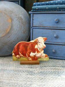 Antique Schoolhouse Cardboard Farm Animal Wood Stand Hereford