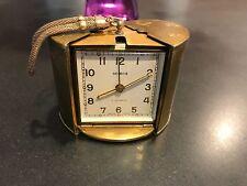 Vintage Semca 7 Jewel Swiss Made Alarm Clock Purse travel brass