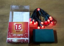 CHRISTMAS LIGHTS NEW 15 RED BERRY LED BATTERY OPERATED INDOOR LED LIGHTS XMAS