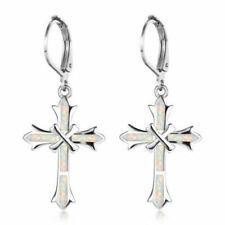 925 Sterling Silver Christian Jesus Fire Opal Cross Catholic Crucifix Earrings