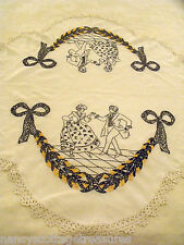 "Vtg Embroidered Victorian Courting Couple Linen Table Cloth 34""x42"" Crochet Trim"