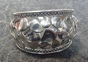 Michael Dawkins Flower Petals 925 Sterling Silver  Wide Cuff Bracelet