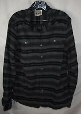 Converse One Star Gray Black Striped Skate Skater Button Up Shirt Men's M