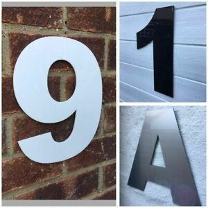 LARGE MODERN HOUSE NUMBERS 250MM DOOR NUMBERS ALUMINIUM EFFECT LARGE NUMBER