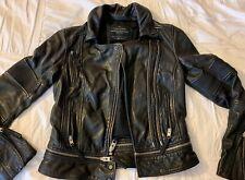 All Saints Black Leather Motorcycle Jacket-size 0