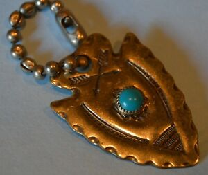 VINTAGE SILVER ARROWHEAD KEY CHAIN WITH TURQUOISE~NO MARKINGS~WRITTEN ARK 1968