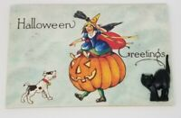 Vintage Image 3D Halloween wooden Postcard Black Cat