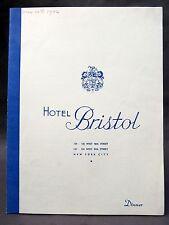 1942 HOTEL BRISTOL Restaurant Dinner Menu NEW YORK New York