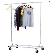 US Ship Home Foldable Metal Cloth Garment Rolling Rack Hanger Closet Furniture