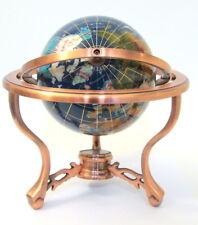 Gemstone World Globe Lapis on 3 Copper Body & Legs Blue Ocean Compass Countries