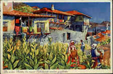 Melnik Bulgarien alte Künstler-AK 1937 gelaufen Frauen bei der Tabakernte Haus