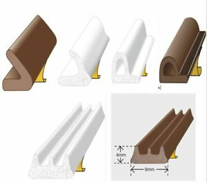 Exitex E/P/ V Profile Draught Excluder Self Adhesive Rubber Door Window Seal 5mt