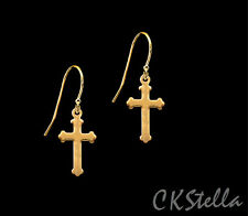 *CKstella*   Cross 22K GP Brilliant Dangle 14K Gold gf Hook Earrings