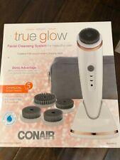NIB Conair True Glow Sonic Advantage Skincare Solution with 5 Brush heads- White