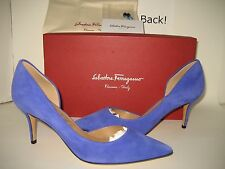 $525 NEW Salvatore Ferragamo Pam Glass US 8.5 Blue Suede Heels Pumps Shoes BOX