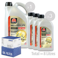 Engine Oil and Filter Service Kit 8 LITRES Millers NANODRIVE EE 5w-30 C3 8L