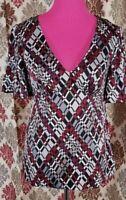 Trina Turk Blouse Top Size M White Black Red Gray Silk Empire Waist