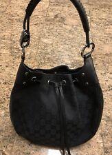 Gucci Black Canvas Leather Monogram Bag