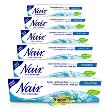 6x Nair SENSITIVE Hair Removal Cream With Camellia Oil Legs Bikini 80ml
