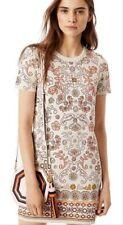 TORY BURCH Coral Ivory Hicks Garde Print T-Shirt Dress Avril Pima S / SMALL VD-5