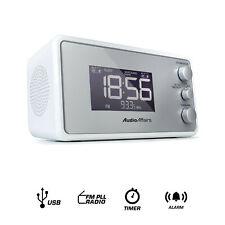 Radiowecker Alarm Wecker 2 Weckzeiten dimmbar USB Snooze Sleep Timer weiß