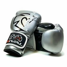 Rival RB7 Fitness Bag Training Gloves Boxing Silver Black Elite Bag Mitts Pads