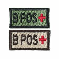 US Military Style Velcro Blood Patch B+ B Pos in Olive and Tan 1x2in