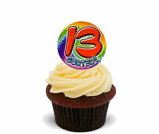 13th Birthday Girl Boy Edible Cupcake Toppers, Stand-up Wafer Cake Decorations