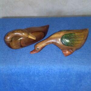 15 cm Tall sculptés à la main qualité de l/'objet. Noël en bois bambou Santa Hat Duck