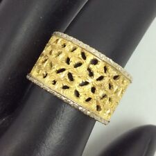18K TWO TONE YELLOW AND WHITE GOLD FILIGREE WIDE BAND RING