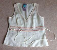 Marks and Spencer Women's Linen Hip Length V Neck Tops & Shirts
