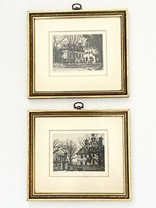 Pair Vintage Leonard Mersky Etchings Governors Palace Wren House Williamsburg