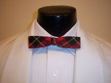 VINTAGE 60'S RED PLAID FORMAL BOW TIE - mens clip on style - Pee Wee Herman look