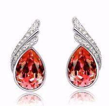 Pretty New 9K White Gold Filled Orange Teardrop & Crystal CZ Stud Post Earrings
