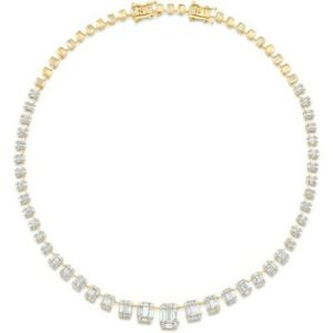 14k White Emerald Gold Plated Single Line Diamond Tennis Necklace For Womens