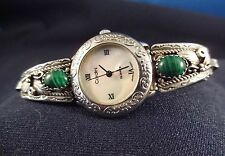Malachite Watch Tips Stamped Sterling Signed with Thunderbird Stamp