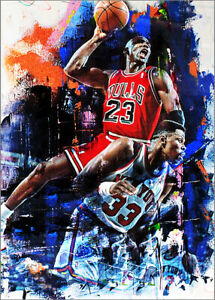 2021 Michael Jordan Chicago Bulls  1/25 Art ACEO Dunk Sketch Print Card By:Q