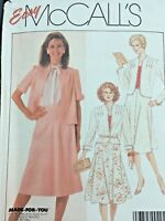McCalls Sewing Pattern 8055 Flare Skirt Suit Tucked Front Jacket Size 18