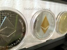 3x Ethereum ETH Gold & Silver Plated Crypto Coin In 3D Floating Display Frame