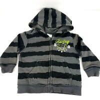 Wonder Kids Toddler Boys Size 12 Months Gray Striped Zip Up Racing Champ Hoodie
