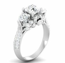 Certified 3.20ct White Diamond Solitaire Antique 14K White Gold Wedding Ring