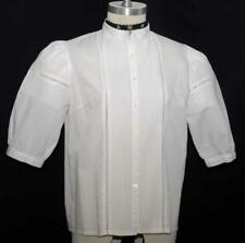 WHITE ~ PLEATED ~ COTTON German Dirndl Dress Suit Western Skirt BLOUSE Top 12 M